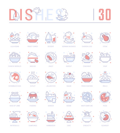 Collection of vector flat icons with thin line elements of dishes of different countries. Set of clean design, and outline signs. Simple linear infographics and pictograms pack for web graphics and apps.