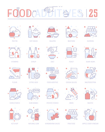 Collection of vector flat icons with thin line elements of food additives. Set of clean design, and outline signs. Simple linear infographics and pictograms pack for web graphics and apps.