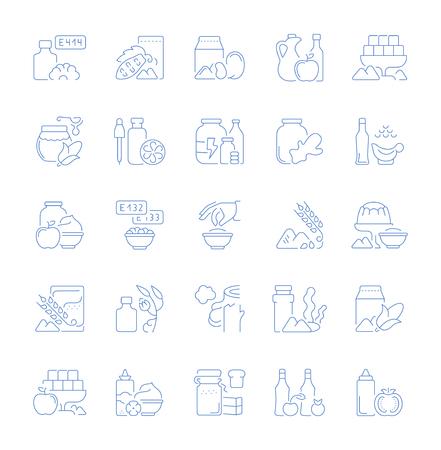 Conjunto de iconos de líneas vectoriales, signos y símbolos de aditivos alimentarios para aplicaciones, web y conceptos modernos. Colección de elementos de infografía, logotipos y pictogramas.