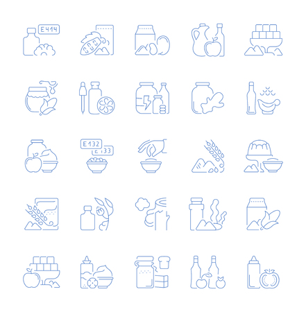 Set of vector line icons, sign and symbols of food additives for modern concepts, web and apps. Collection of infographics elements, logos and pictograms.