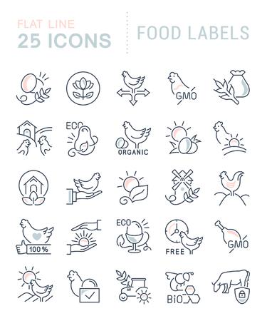 Ensemble d'icônes de ligne vectorielle d'étiquettes alimentaires pour les concepts modernes, le web et les applications.