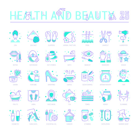 Collection of vector flat icons with thin line elements of health and beauty. Set of clean design, and outline signs. Simple linear infographics and pictograms pack for web graphics and apps. Ilustracja