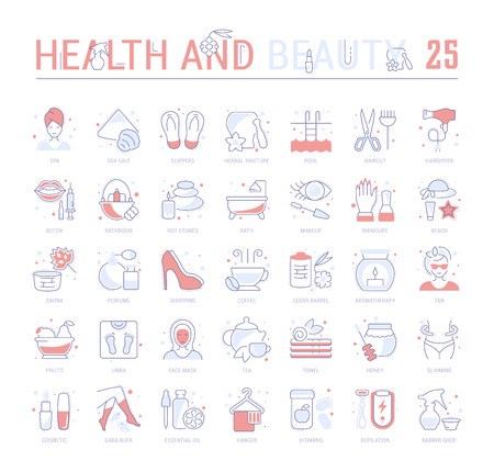 Collection of vector flat icons with thin line elements of health and beauty. Set of clean design, and outline signs. Simple linear infographics and pictograms pack for web graphics and apps. Vector Illustration