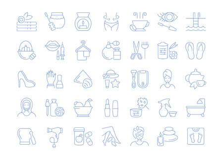 Set of vector line icons, sign and symbols of beauty and health for modern concepts, web and apps. Collection of infographics elements, logos and pictograms. Illustration