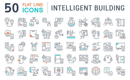 Set of vector line icons of intelligent building for modern concepts, web and apps. Иллюстрация