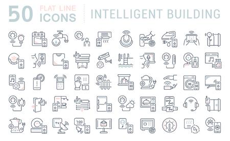 Satz von Vektorliniensymbolen des intelligenten Gebäudes für moderne Konzepte, Web und Apps.