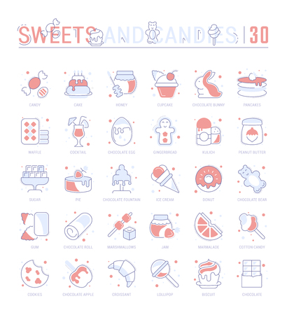 Collection of vector flat icons with thin line elements of sweets and chocolate. Set of clean design, and outline signs. Simple linear infographics and pictograms pack for web graphics and apps. Vectores