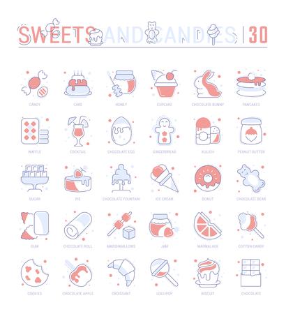 Raccolta di icone piane di vettore con elementi di linea sottile di dolci e cioccolato. Set di design pulito e segni di contorno. Pacchetto di semplici infografiche lineari e pittogrammi per grafica web e app.