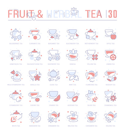 Collection of vector flat icons with thin line elements of fruit and herbal tea. Set of clean design, and outline signs. Simple linear infographics and pictograms pack for web graphics and apps.