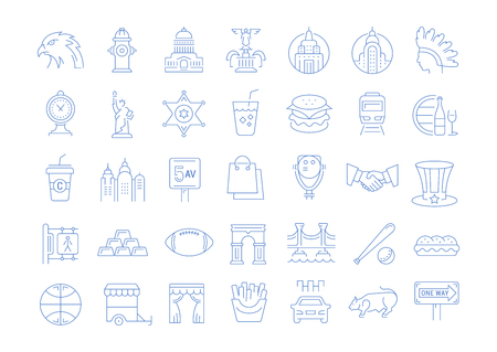 Set vector line icons in flat design USA, New York and America with elements for mobile concepts and web apps. Collection modern infographic logo and pictogram.