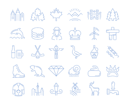 Set vector line icons in flat design Vancouver and Canada with elements for mobile concepts and web apps. Collection modern infographic logo and pictogram.