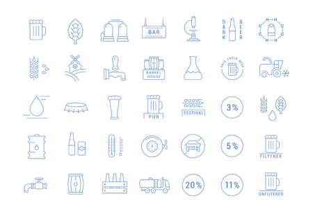 Set vector line icons with open path beer, bottle, glass, mug and pub logo with elements for mobile concepts and web apps. Collection modern infographic logo and pictogram. Illustration