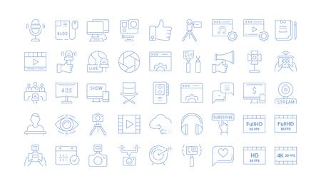 Stellen Sie einfache Liniensymbole, Zeichen und Symbole des Vektors in Blogging, Marketing und Geschäft mit flachem Design mit Elementen für mobile Konzepte und Webanwendungen ein. Sammlung modernes Infografik-Logo und Piktogramm. Standard-Bild - 108417265