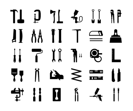 Set vector icons of building tools. Collection of vector isolated objects on white background. Ilustração Vetorial