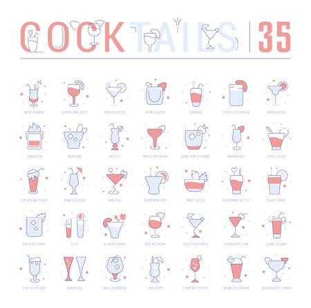 Collection of vector flat icons with thin line elements of cocktails. Set of clean design, and outline signs. Simple linear infographics and pictograms pack for web graphics and apps. Ilustração