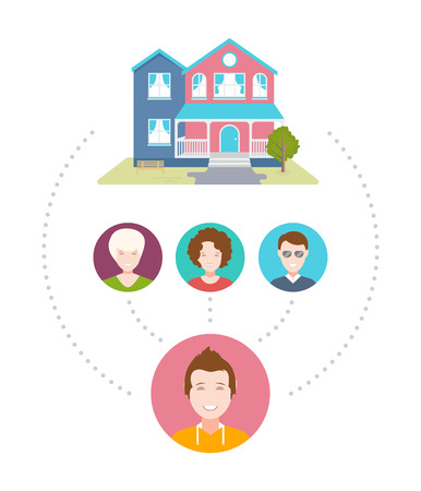 Vector illustration of Couch Surfing. The cozy house, host and his guests. The modern infographic in flat style. Vectores