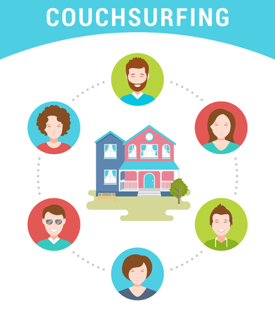 Vector illustration of Couch Surfing. The cozy house, host and his guests. The modern infographic in a flat style.