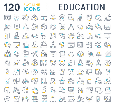 Set of vector line icons of education for modern concepts, web and apps. Illustration