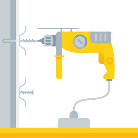 Vector Illustration of drill. Stock Illustratie