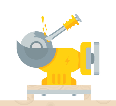 The vector illustration of the bench grinder in flat style. The electrical yellow tool on a white background. Stock Illustratie