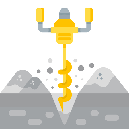 The vector illustration of the Auger in flat style. The electrical yellow tool on a white background.