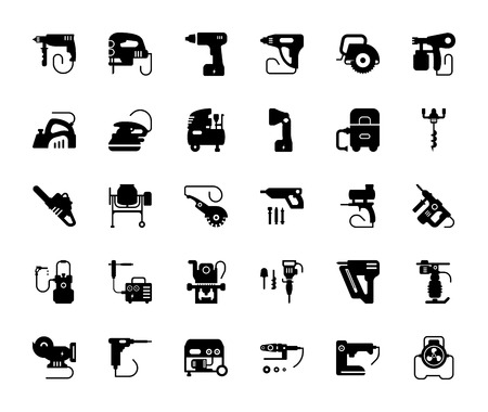 Set vector icons of building tools. Collection of vector isolated objects on white background.