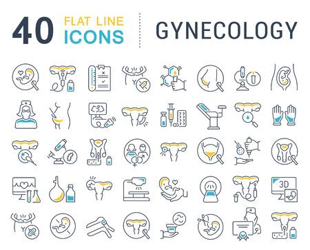 Conjunto de iconos de líneas vectoriales de ginecología para aplicaciones, web y conceptos modernos.