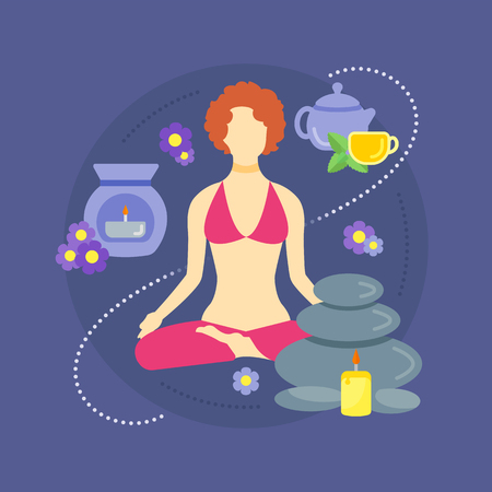 Vector illustration of a woman in a Yoga position in flat style. Relaxation and Spa resort. Medical therapy