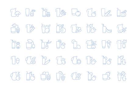 Conjunto de iconos de líneas vectoriales, signos y símbolos de jugos para aplicaciones, web y conceptos modernos. Colección de elementos de infografía, logotipos y pictogramas.