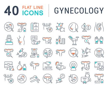 Ensemble d'icônes de ligne vectorielle de gynécologie pour les concepts modernes, le web et les applications.