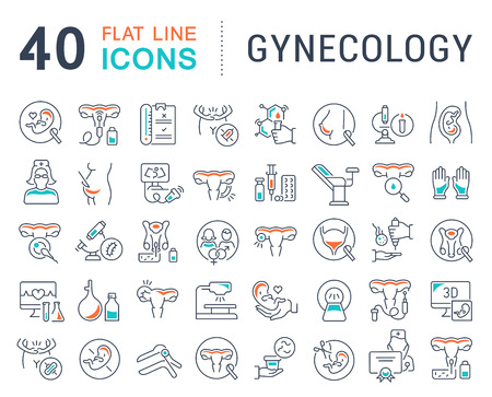 Set of vector line icons of gynecology for modern concepts, web and apps.