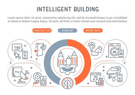 Banner de línea de edificio inteligente. Ilustración de vector del concepto lineal de la casa inteligente.