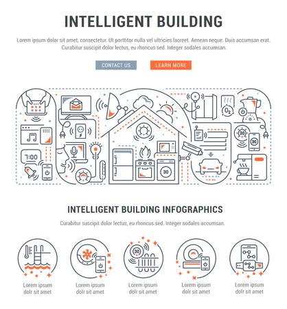 Bannière de ligne de bâtiment intelligent. Illustration vectorielle du concept linéaire de la maison intelligente.
