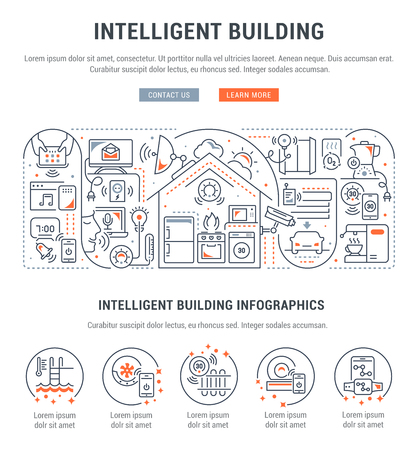 Line banner of intelligent building. Vector illustration of the linear concept of the smart home. Banque d'images - 108502784