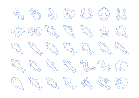Set of vector line icons, sign and symbols of seafood for modern concepts, web and apps. Collection of infographics elements, logos and pictograms.