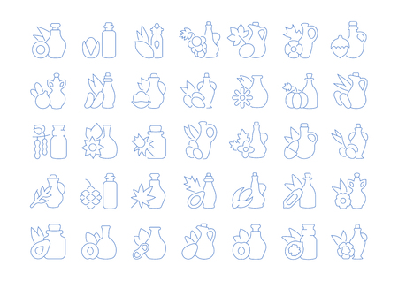 Set of vector line icons, sign and symbols of oils for modern concepts, web and apps. Collection of infographics elements, logos and pictograms. Illustration