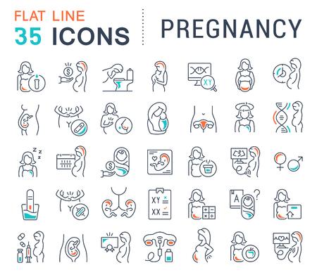 Satz von Vektorliniensymbolen der Schwangerschaft für moderne Konzepte, Web und Apps.