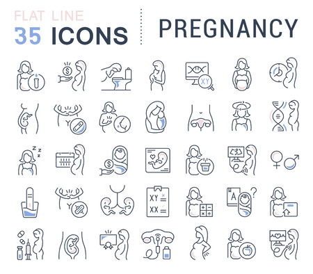 Set van vector lijn iconen van zwangerschap voor moderne concepten, websites en apps. Vector Illustratie