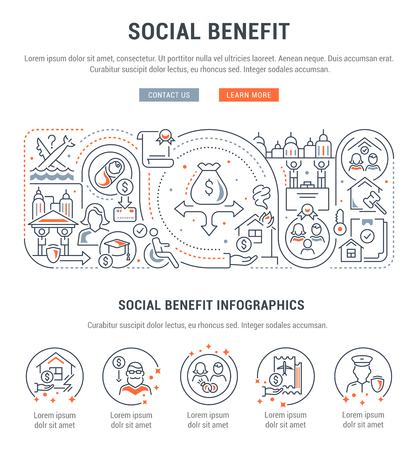 Linear banner of the social benefit. Vector illustration of the government public support. Vector Illustratie