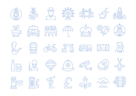 Set vector line icons in flat design United Kingdom, England, Ireland and Scotland with elements for mobile concepts and web apps. Collection modern infographic logo and pictogram.