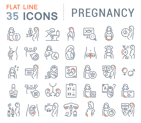 Set of vector line icons of pregnancy for modern concepts, web and apps. Vettoriali