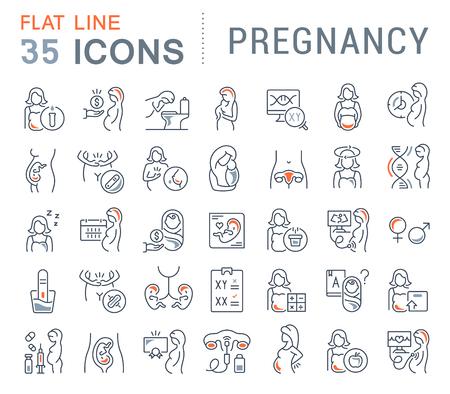 Set van vector lijn iconen van zwangerschap voor moderne concepten, websites en apps.