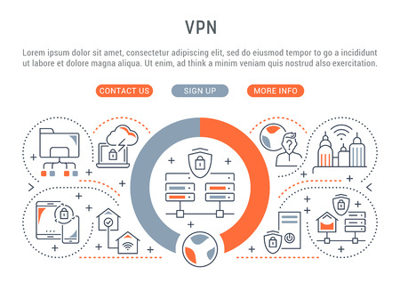 Banner de línea de VPN. Ilustración de vector del concepto lineal de conexiones de red de proceso.