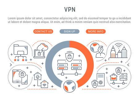 Bannière de ligne de VPN. Illustration vectorielle du concept linéaire des connexions de réseau de processus.