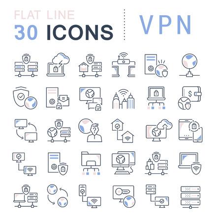 Ensemble d'icônes de ligne vectorielle de vpn pour les concepts modernes, le web et les applications. Vecteurs