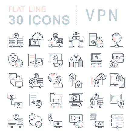Ensemble d'icônes de ligne vectorielle de vpn pour les concepts modernes, le web et les applications.