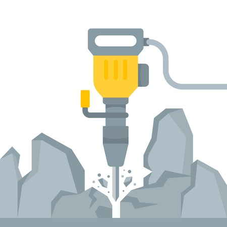 The vector illustration of the Rotary Hammer in flat style. The electrical yellow tool on a white background. Mining.