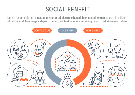 Linear banner of the social benefit. Vector illustration of the government public support.
