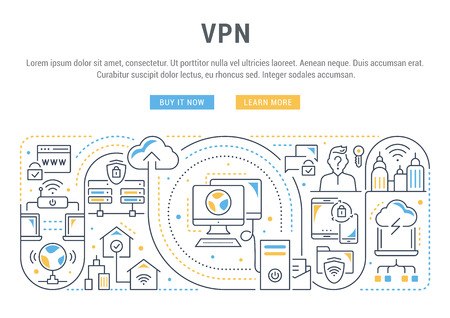 Line banner of VPN. Vector illustration of the linear concept of process network connections.