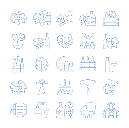 Set vector line icons, sign and symbols in flat design grape with elements for mobile concepts and web apps. Collection modern infographic logo and pictogram.